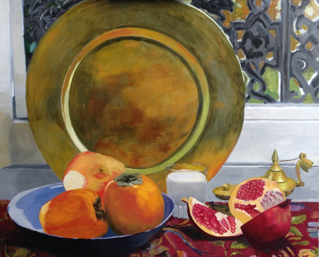The Golden Plate, Still Life with Persimons and Pomagranite
