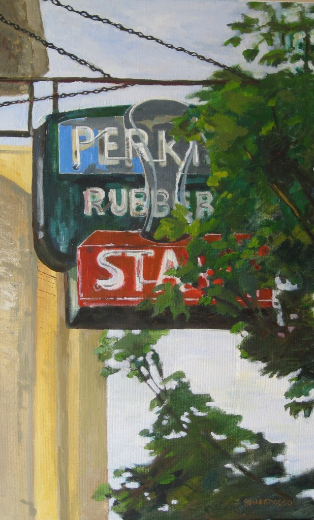 Perkins Rubber Stamps Oil on Canvas 61 x 38 cm