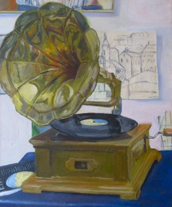 GRAMOPHONE,  Oil on Canvas,   21 x 18 inches
