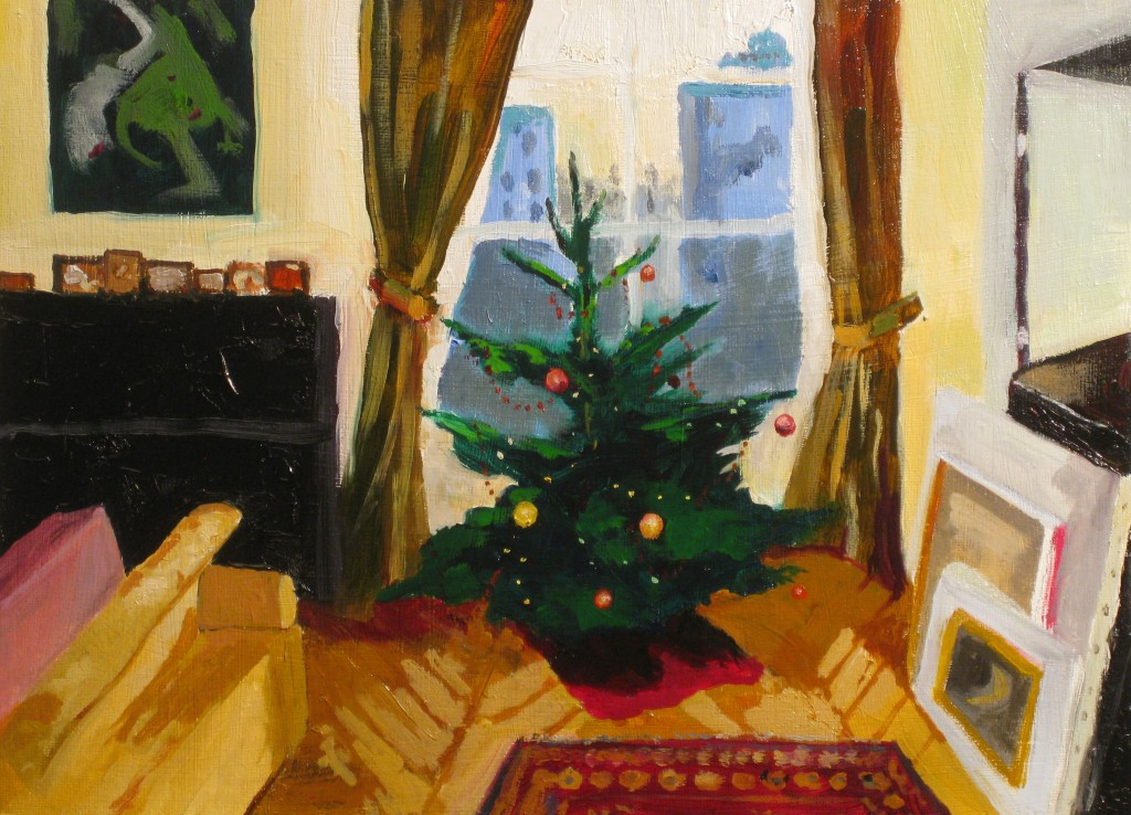 """Waiting for Father Christmas"" Oil on Panel 24 x 33 cm"