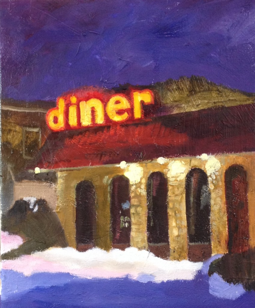 TWIN PINES DINER ©2014 Felice PanagrossoOil on Canvas10.5 x 8.5 inches