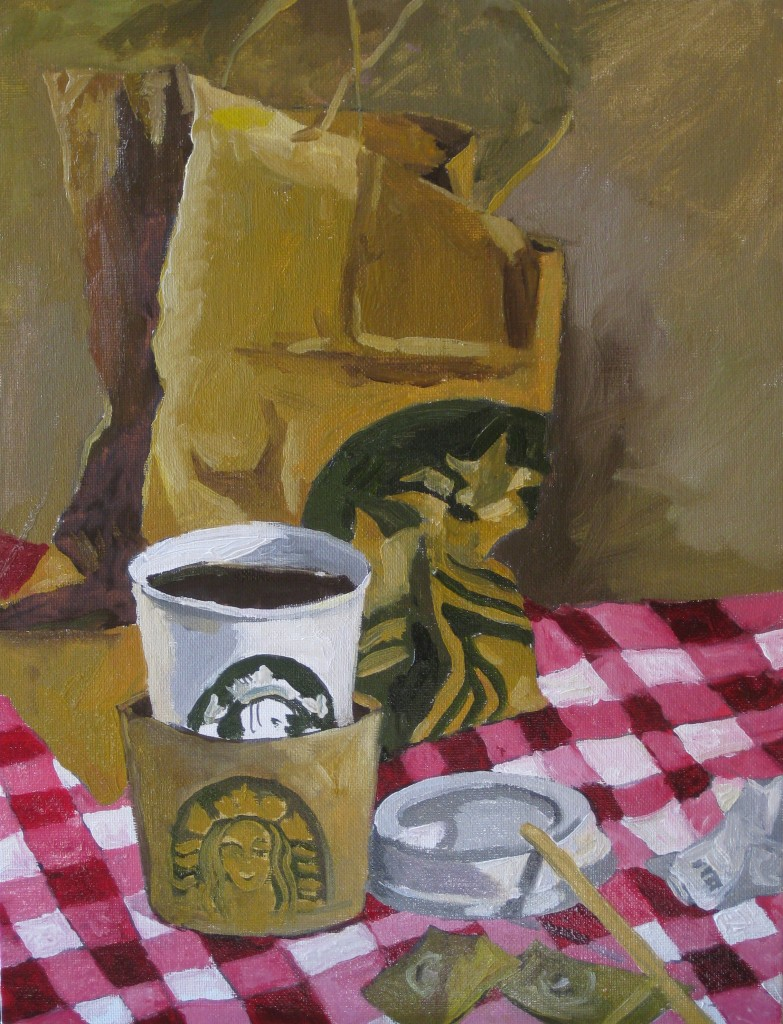 LOCAL COFFEE©2014 Felice PanagrossoOil on Canvas35 x 27 cm (5F)