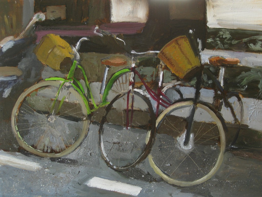 WHITE TIRE BICYCLES©2014 Felice PanagrossoOil on Panel9 x 12 inches