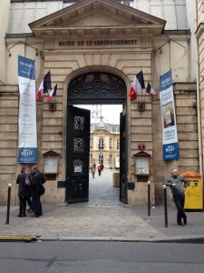 The Mairie of the 9th Arrondissement of Paris, from the street.  You can see the Salon Aguado in the back of the courtyard.